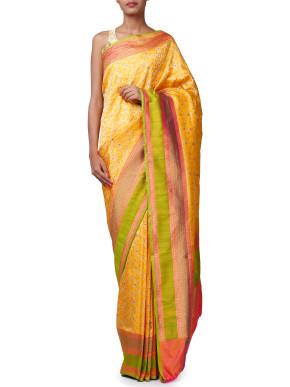 Banarasi keemkhab saree with meenakari