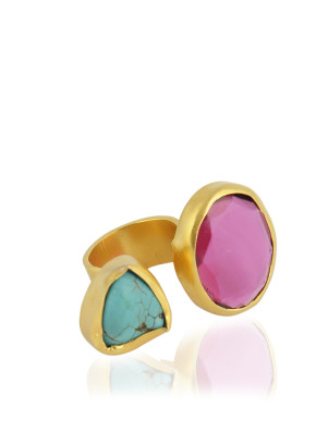 'The Tale of Two Stones' Gold Ring