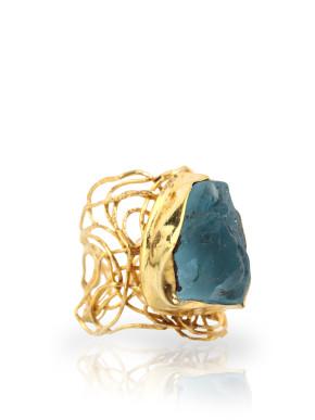 The Stunner blue topaz gold ring