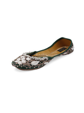 Green Pearl  Embroidered Floral Jutis