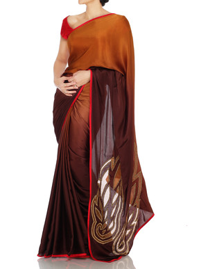 Brown Shaded Saree With Cutwork Motif