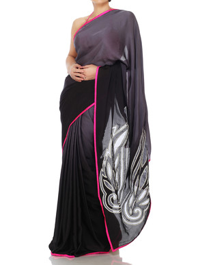 Black Shaded Saree With Cutwork Motif