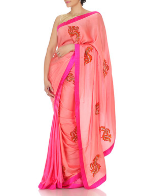 Pink Saree With Floral Hand Embroidery