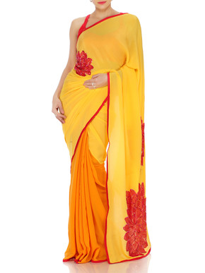 Yellow Ochre Saree With Sequin Embroidery