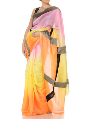 Tri Color Saree With Patchwork Lines