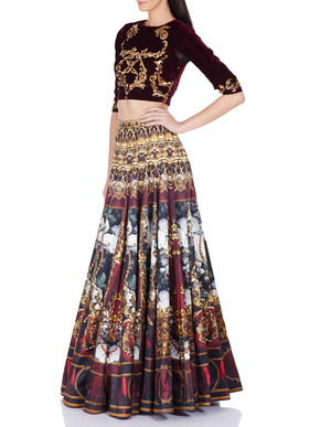 Falguni and Shane Peacock Lila Crop Top And Lehenga