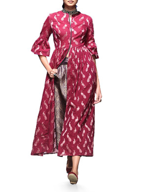 Berry Kurta With Brocade Pants