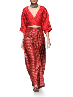 Crimson Textured Top With Benarasi Balloon Skirt