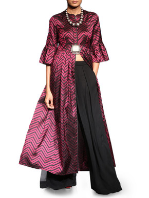 Wine Silk Striped Kurta With Silk Palazzo Pants