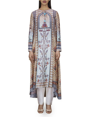 Anita Dongre Powder Blue Asymmetric Printed Kurta