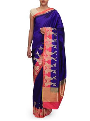 Ekaya Blue Silk Sari