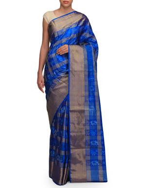 Ekaya Blue Ikat Sari
