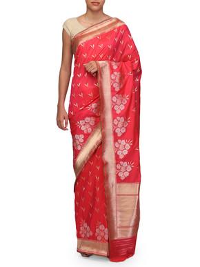 Ekaya Pink Silk Sari