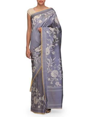 Ekaya Grey Silk Sari