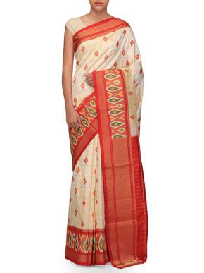 Ekaya White and Red Silk Sari