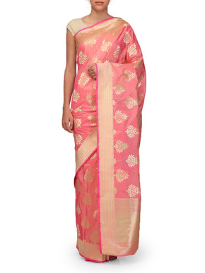 Ekaya Light Pink Silk sari