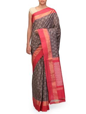 Ekaya Handwoven Brown Ikat Sari