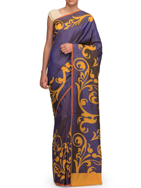 Ekaya Indigo Blue Silk Sari