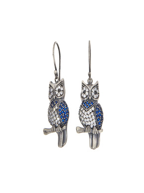 Loupe Owl Silver Earrings