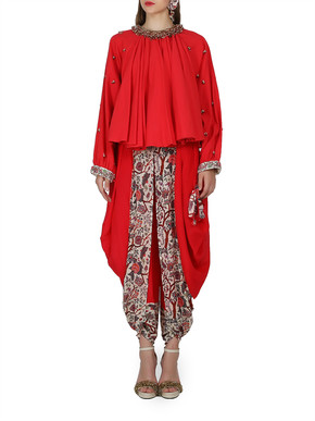 Nikasha Draped Top and Dhoti Pants Set