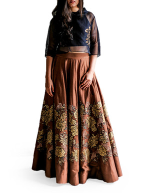 Taika Gulab Jal Crop Top and Skirt Set