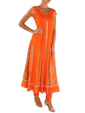 Orange Smocked Anarkali