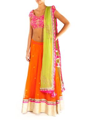 Pink and Orange Lehenga