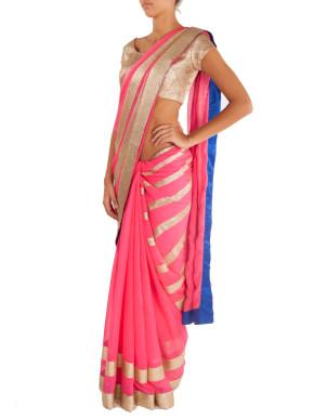 Pink cocktail saree