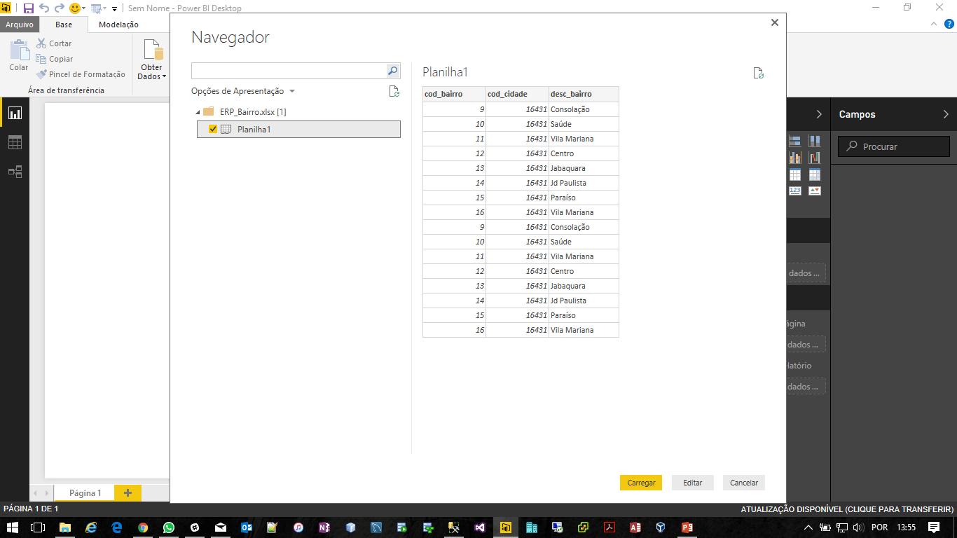 Power BI Com Excel - Selecionando a Sheet