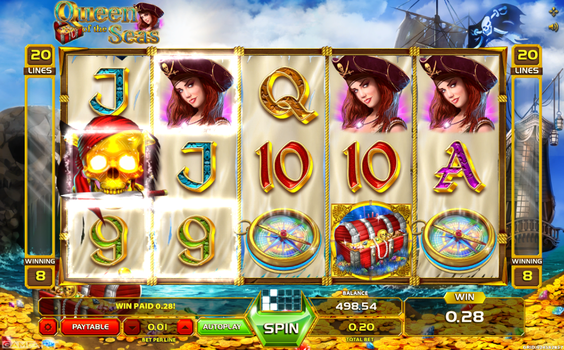 Queen of the Seas online casino slot from GameArt