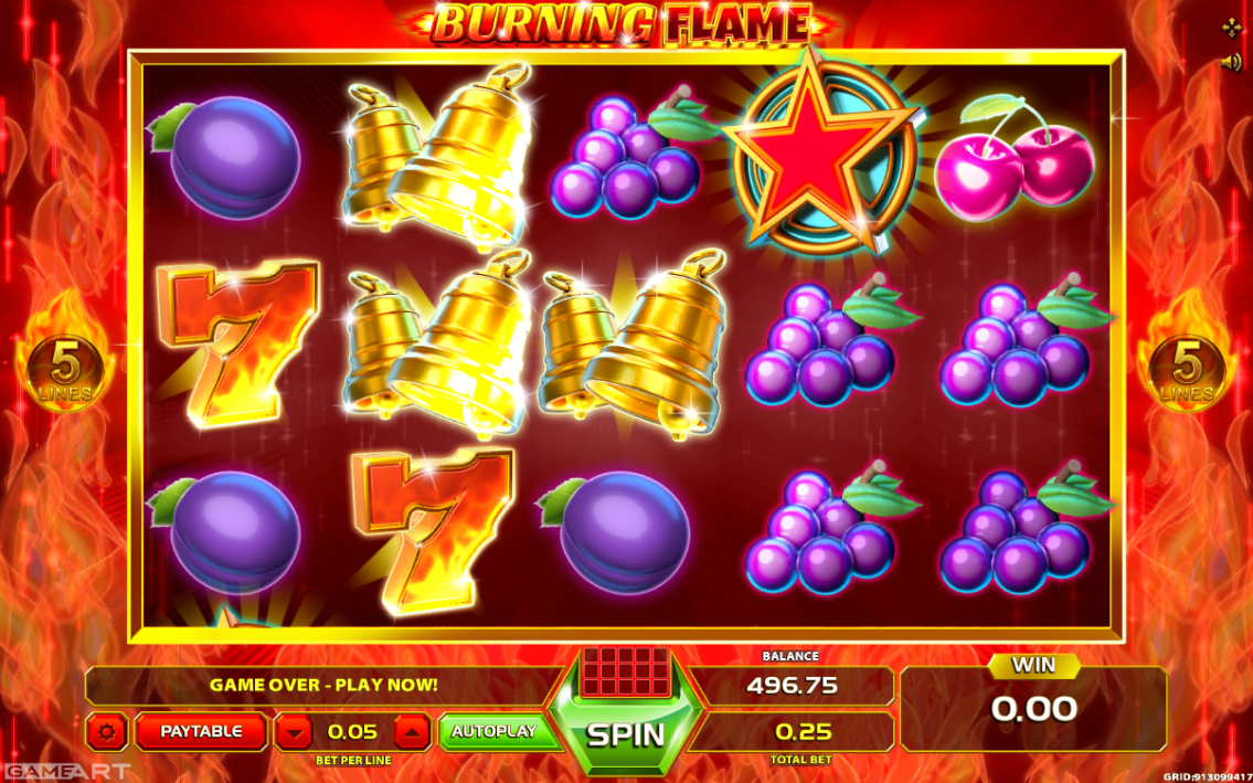 Burning Flames online casino slot from GameArt