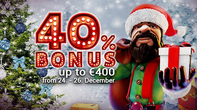 40% Deposit Bonus daily between 24th and 26th december at Eat-Sleep-Bet Casino