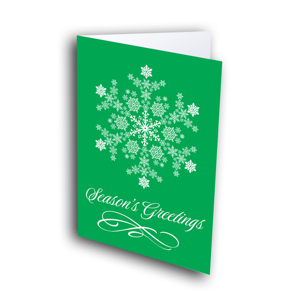 Bright Green Snowflake Greetway Greeting Cards