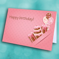 Picture of Pink Cake Balloons and Gift Birthday