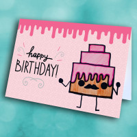 Picture of Pink Mustache Cake Birthday
