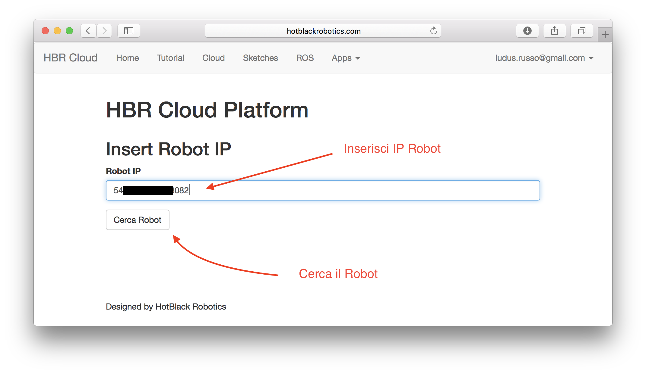 Inserimento IP Robot