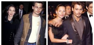 Johnny Depp mit Winona Ryder und mit Kate Moss