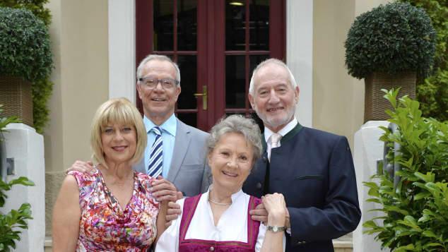 Dirk Galuba (l.o.), Sepp Schauer, Mona Seefried (l.u.) und Antje Hagen