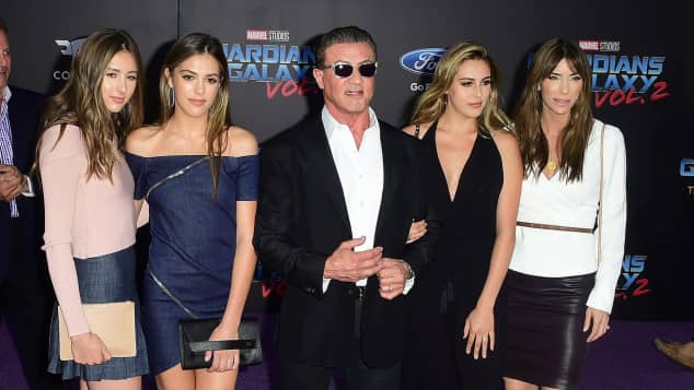 Sylvester Stallone mit Familie