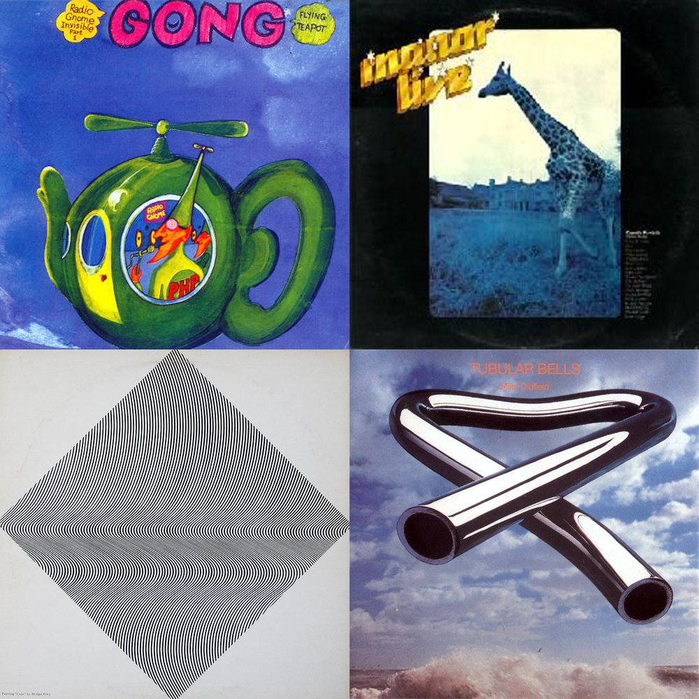 The first four Virgin Records releases by Gong, Mike Oldfield, Elkie Brooks and Faust