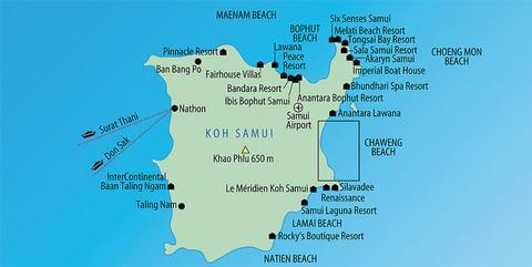Karte Koh Samui