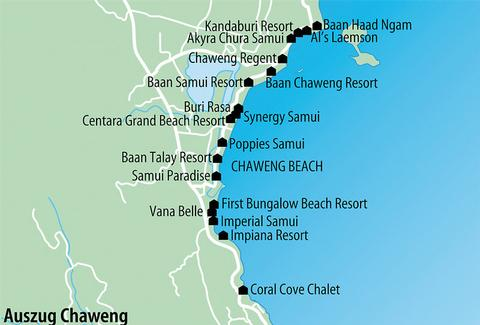 Karte Chaweng Beach