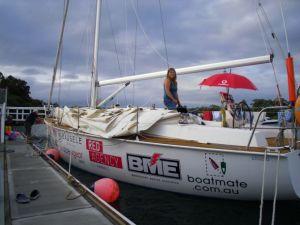 Lisa Blair on board Cator before leaving to cross the Tasman Sea. Photo Linda Blair.
