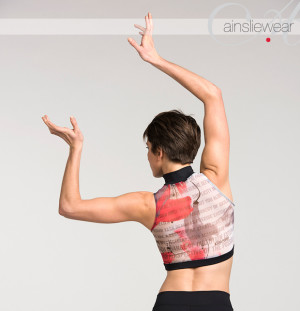 Ainsliewear: Style AW315KP Zip Front Crop Top in Mesh