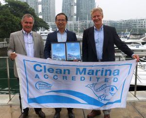 First in Asia: the 'Fish Friendly Marina' presentation to Marina at Keppel Bay, Singapore, (l-r) Andrew Chapman CMM, Trevor Fong CMP and Colin Bransgrove.