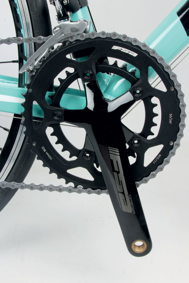 FSA supplies their reliable entry level Omega crankset.