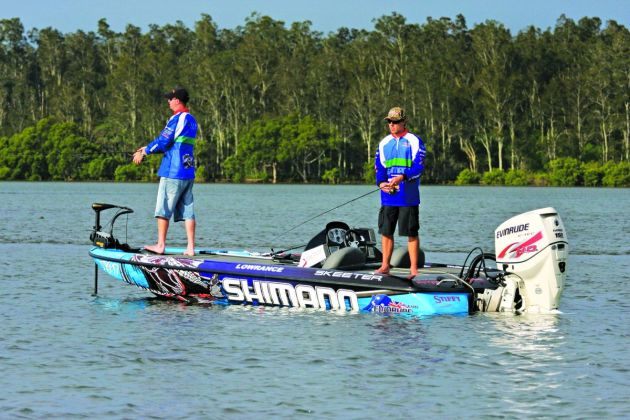 Slow and go – A super fast US-built bass boat fitted with bow mount electric with anglers slowly working lures around some oyster leases.