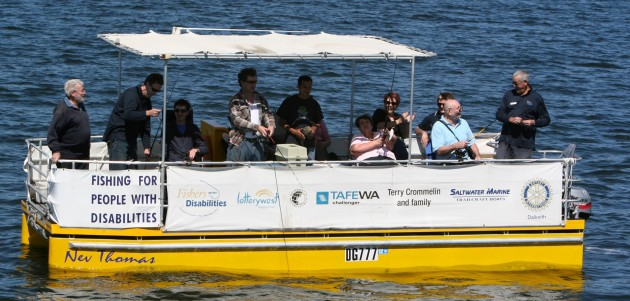 The Fishability pontoon vessel in WA is used to help people with disabilities enjoy fishing.