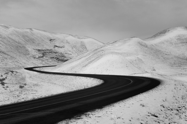 Myvatn, Iceland. This winding road provided a nice contrast against the snowy landscape, looking particularly stunning in infrared. Canon 5D Mark II converted to 720nm infrared, Canon EF 24-105mm f/4L @ 35mm, 1/80 sec @ f10, ISO 400, hand held. Monochrome conversion and curves adjustments in Photoshop CC.
