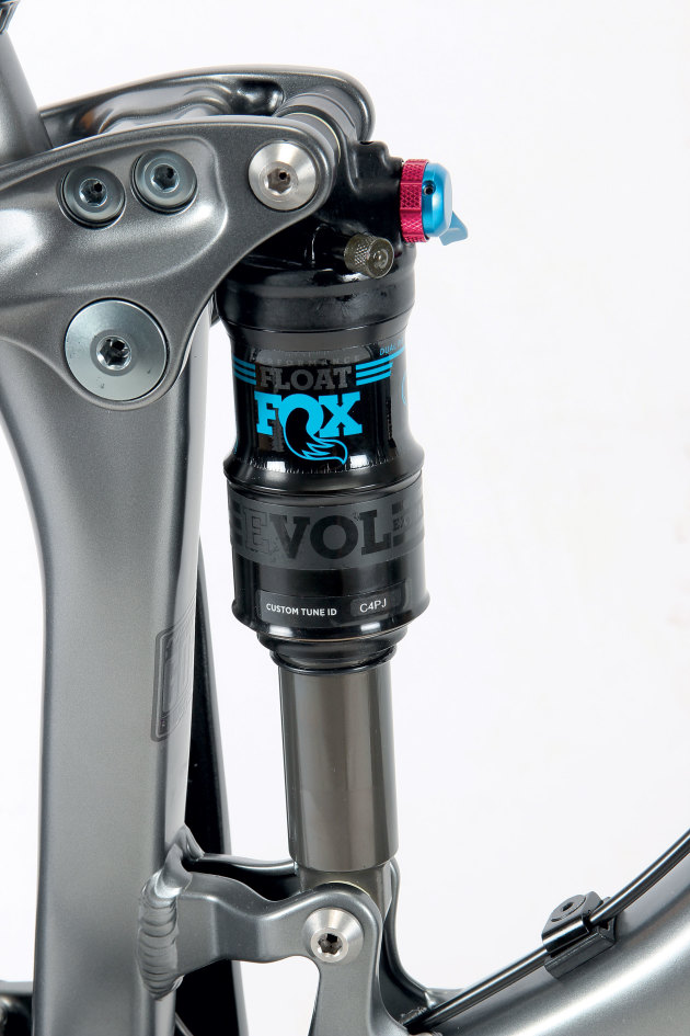 The progressive leverage rate combines with the Fox Evol air shock to produce a suspension setup that moves for the smallest bump yet never blows through the travel unnecessarily.